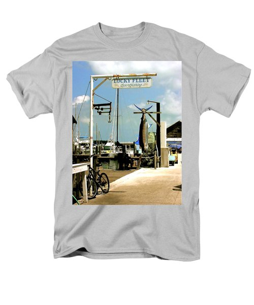 Men's T-Shirt  (Regular Fit) featuring the painting Lucky Fleet Key West  by Iconic Images Art Gallery David Pucciarelli