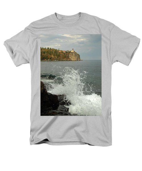 Men's T-Shirt  (Regular Fit) featuring the photograph Making A Splash At Split Rock Lighthouse  by James Peterson