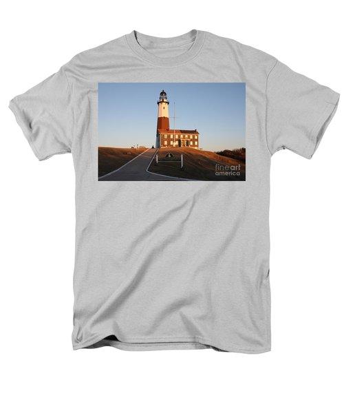 Montauk Lighthouse Entrance Men's T-Shirt  (Regular Fit) by John Telfer
