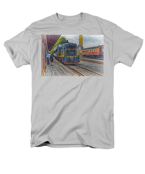 Men's T-Shirt  (Regular Fit) featuring the photograph Old Town Sacramento Railroad by Jim Thompson