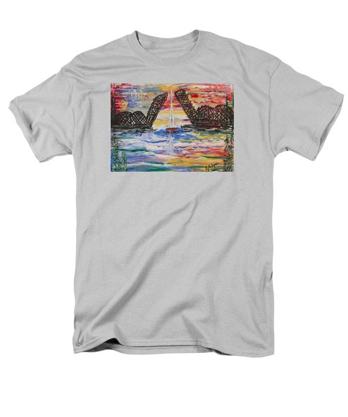 On The Hour. The Sailboat And The Steel Bridge Men's T-Shirt  (Regular Fit) by Andrew J Andropolis