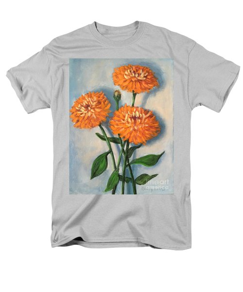 Men's T-Shirt  (Regular Fit) featuring the painting Orange Zinnias by Randol Burns