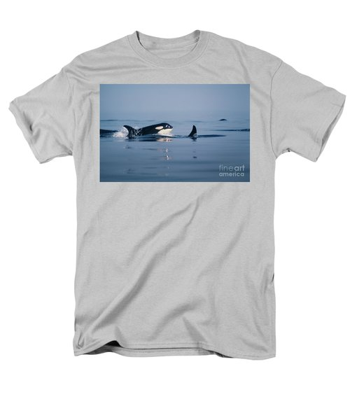 Men's T-Shirt  (Regular Fit) featuring the photograph Orcas Off The San Juan Islands Washington  1986 by California Views Mr Pat Hathaway Archives