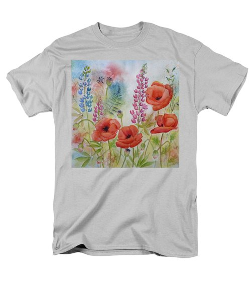 Men's T-Shirt  (Regular Fit) featuring the painting Oriental Poppies Meadow by Carla Parris
