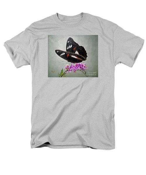 Original Animal Oil Painting Art-the Butterfly#16-2-1-09 Men's T-Shirt  (Regular Fit) by Hongtao     Huang
