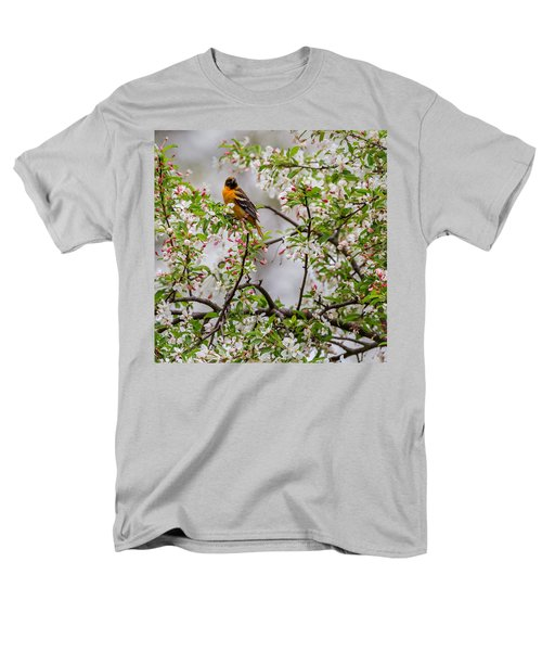 Oriole In Crabapple Tree Square Men's T-Shirt  (Regular Fit) by Bill Wakeley