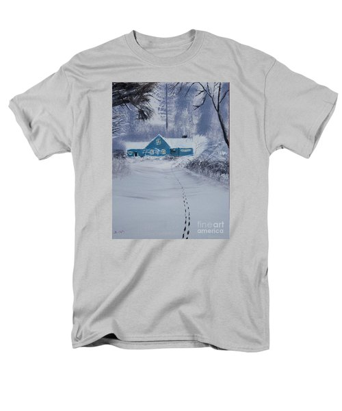 Men's T-Shirt  (Regular Fit) featuring the painting Our Little Cabin In The Snow by Ian Donley