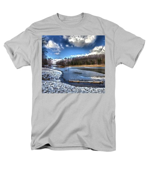 Men's T-Shirt  (Regular Fit) featuring the photograph Over Da River N Thru Da Woods by Robert McCubbin