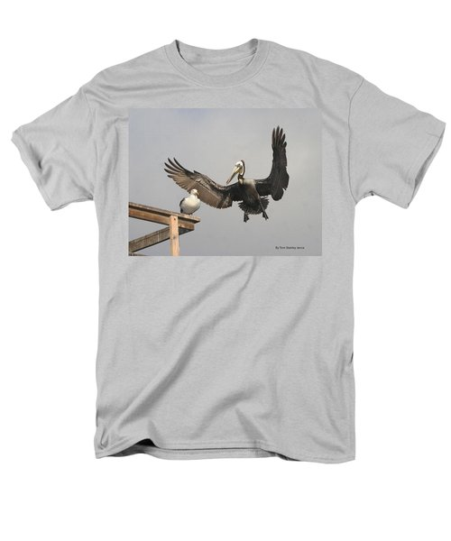 Men's T-Shirt  (Regular Fit) featuring the photograph Pelican Wins Sea Gull Looses by Tom Janca