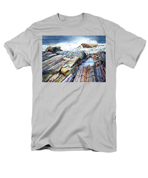 Men's T-Shirt  (Regular Fit) featuring the painting Pemaquid Rocks by Roger Rockefeller