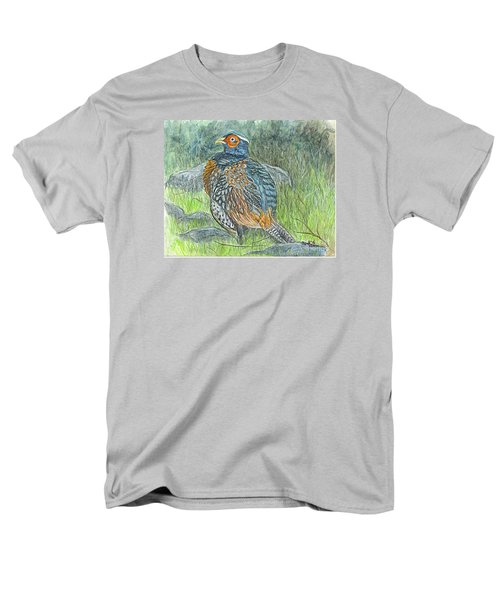 Men's T-Shirt  (Regular Fit) featuring the drawing Pheasant Common Male by Carol Wisniewski