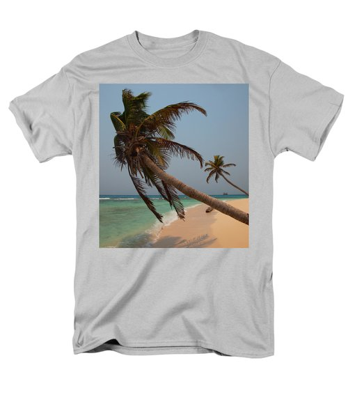 Pigeon Cays Palm Trees Men's T-Shirt  (Regular Fit) by Susan Rovira