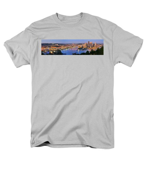 Pittsburgh Pennsylvania Skyline At Dusk Sunset Extra Wide Panorama Men's T-Shirt  (Regular Fit) by Jon Holiday