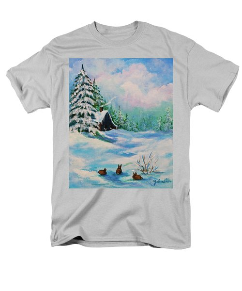 Men's T-Shirt  (Regular Fit) featuring the painting Rabbits Waiting For Spring by Bob and Nadine Johnston