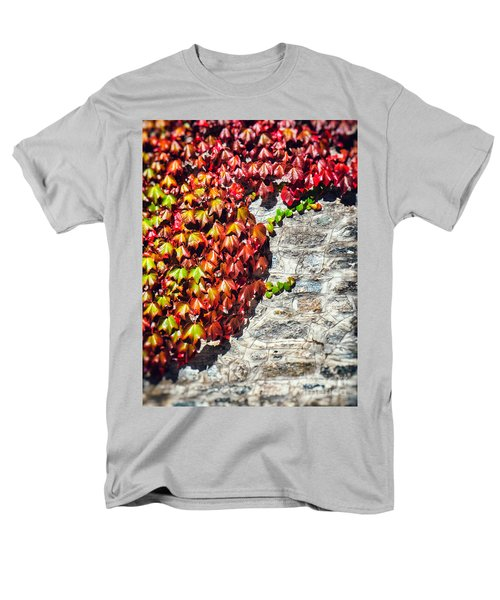 Men's T-Shirt  (Regular Fit) featuring the photograph Red Ivy On Wall by Silvia Ganora