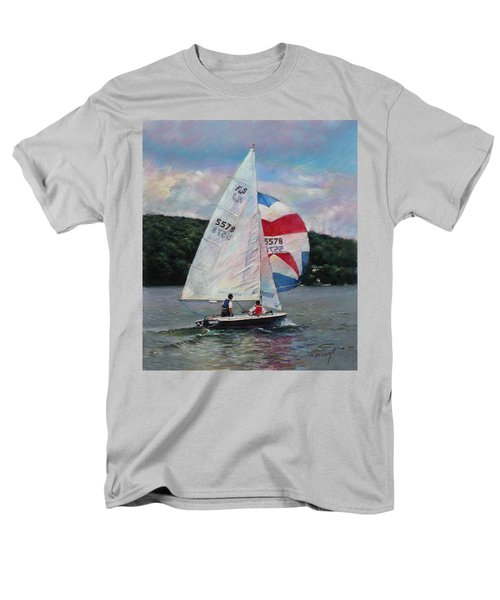 Men's T-Shirt  (Regular Fit) featuring the drawing Red White And Blue Sailboat by Viola El