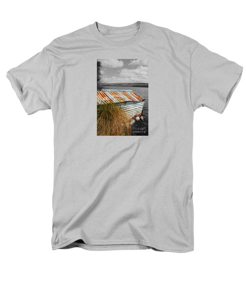 Rusty Boatshed On Lake. Men's T-Shirt  (Regular Fit) by Nareeta Martin