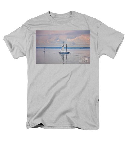 Men's T-Shirt  (Regular Fit) featuring the photograph Sailing On A Misty Morning Art Prints by Valerie Garner