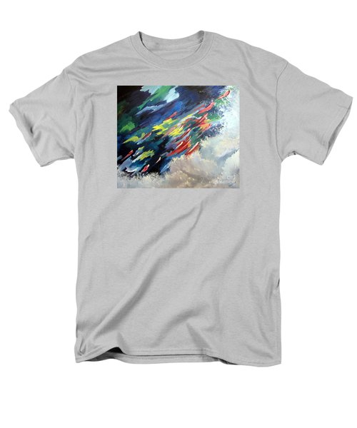 Men's T-Shirt  (Regular Fit) featuring the painting Salmon Run by Carol Sweetwood