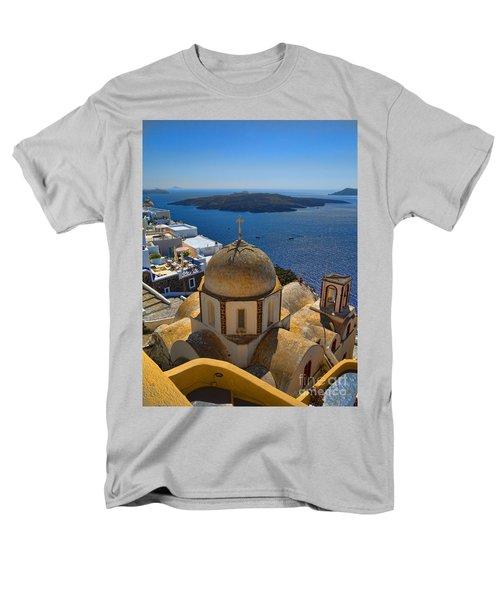 Santorini Caldera With Church And Thira Village Men's T-Shirt  (Regular Fit) by David Smith