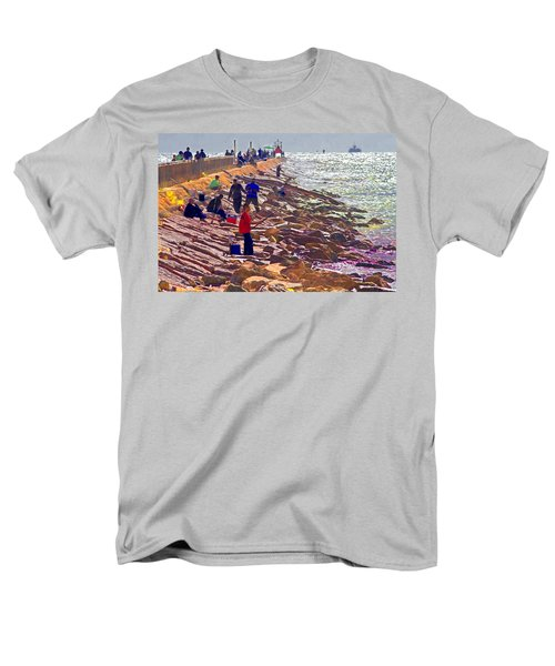Men's T-Shirt  (Regular Fit) featuring the photograph Saturday Morning On The Surfside Jetty by Gary Holmes