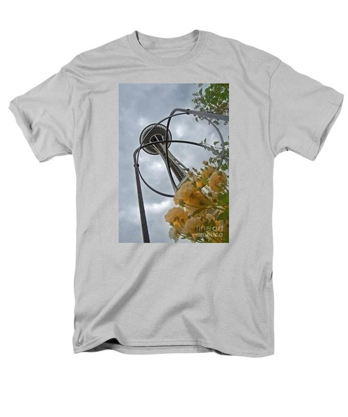Men's T-Shirt  (Regular Fit) featuring the photograph Seattle Spaceneedle With Watercolor Effect Yellow Roses by Valerie Garner
