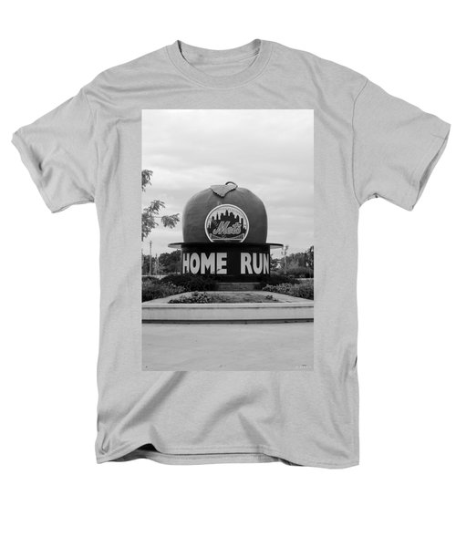 Shea Stadium Home Run Apple In Black And White Men's T-Shirt  (Regular Fit) by Rob Hans