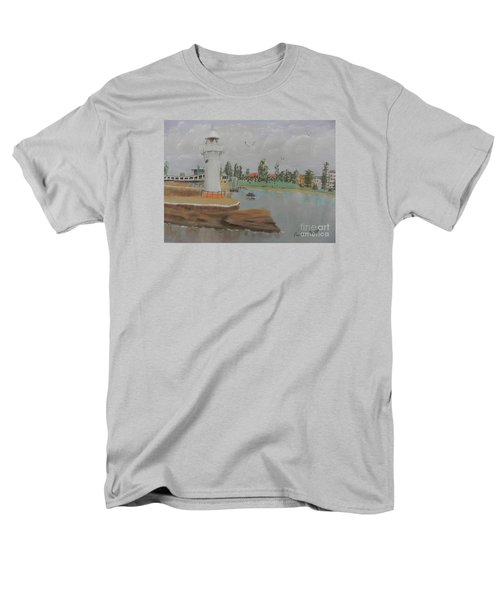 Small Lighthouse At Wollongong Harbour Men's T-Shirt  (Regular Fit) by Pamela  Meredith