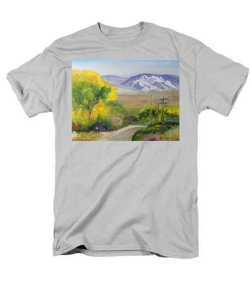 Men's T-Shirt  (Regular Fit) featuring the painting Split Mountain On Golf Course Road by Sherril Porter