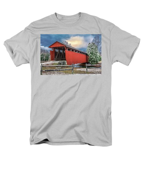 Staats Mill Covered Bridge Men's T-Shirt  (Regular Fit) by Mary Almond