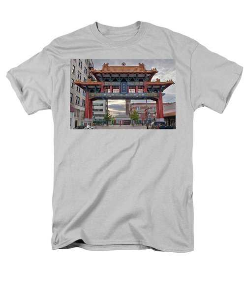 Men's T-Shirt  (Regular Fit) featuring the photograph Sunset At Chinatown Gate In Seattle Washington by JPLDesigns
