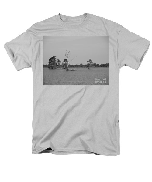 Men's T-Shirt  (Regular Fit) featuring the photograph Swamp Cypress Trees Black And White by Joseph Baril