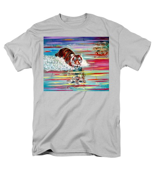 Men's T-Shirt  (Regular Fit) featuring the painting Tigers Crossing by Phyllis Kaltenbach
