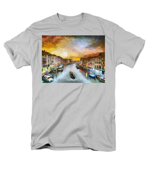 Men's T-Shirt  (Regular Fit) featuring the painting Sunrise In The Beautiful Charming Venice by Georgi Dimitrov