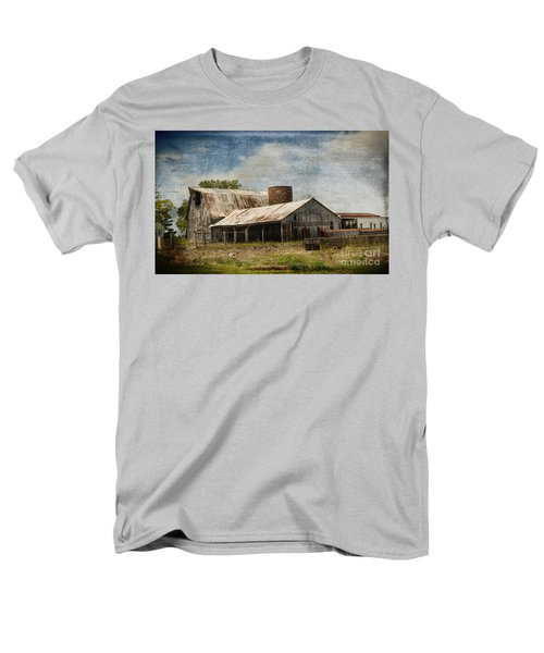 Barn -vintage Barn With Brick Silo - Luther Fine Art Men's T-Shirt  (Regular Fit) by Luther Fine Art