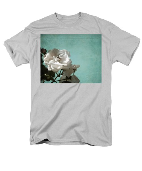 Men's T-Shirt  (Regular Fit) featuring the photograph Vintage Inspired White Roses On Aqua Blue Green - by Brooke T Ryan