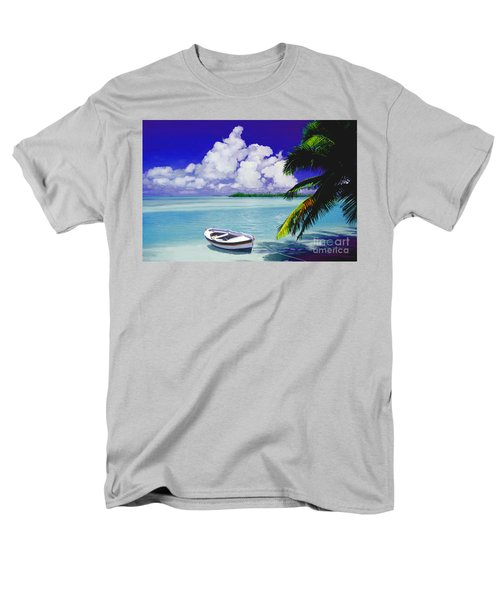 White Boat On A Tropical Island Men's T-Shirt  (Regular Fit) by David  Van Hulst