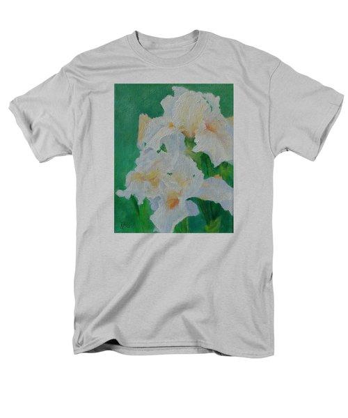 White Irises Original Oil Painting Iris Cluster Beautiful Floral Art Men's T-Shirt  (Regular Fit) by Elizabeth Sawyer