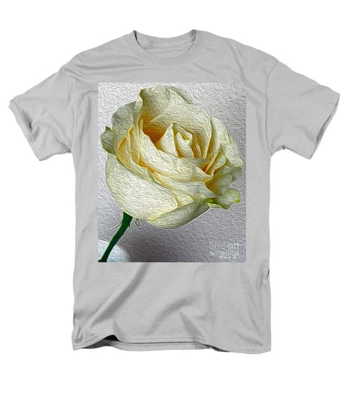 Men's T-Shirt  (Regular Fit) featuring the photograph White Rose In Oil Effect by Nina Silver