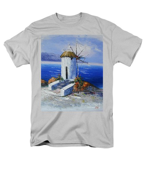 Windmill In Greece Men's T-Shirt  (Regular Fit) by Elena  Constantinescu