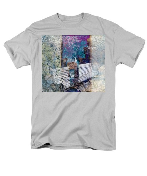 Men's T-Shirt  (Regular Fit) featuring the digital art Woman On A Bench by Cathy Anderson
