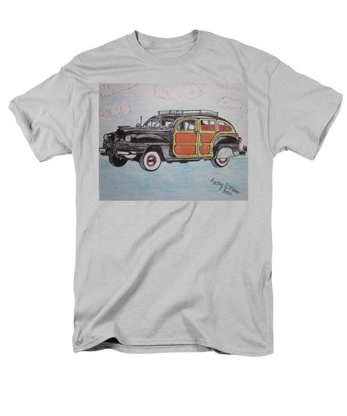 Men's T-Shirt  (Regular Fit) featuring the painting Woodie Station Wagon by Kathy Marrs Chandler