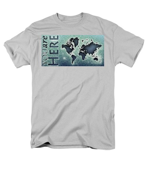 World Map You Are Here Novo In Black And Blue Men's T-Shirt  (Regular Fit) by Eleven Corners
