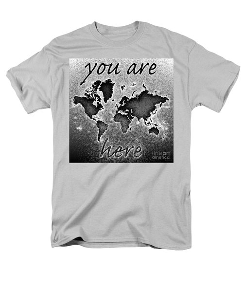 World Map You Are Here Novo In Black And White Men's T-Shirt  (Regular Fit) by Eleven Corners