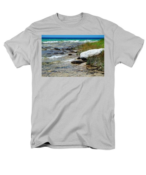 Men's T-Shirt  (Regular Fit) featuring the photograph Quiet Waves Along The Shore by Janice Adomeit