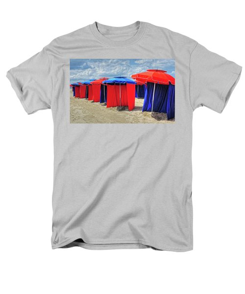 Men's T-Shirt  (Regular Fit) featuring the photograph Beach Umbrellas Nice France by Dave Mills