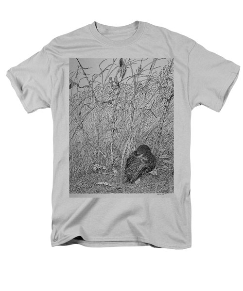Men's T-Shirt  (Regular Fit) featuring the drawing Bird In Winter by Daniel Reed