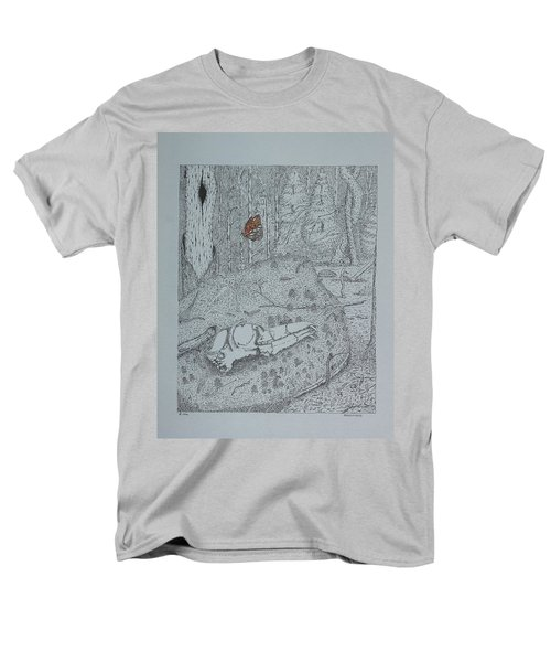 Men's T-Shirt  (Regular Fit) featuring the drawing Canine Skull And Butterfly by Daniel Reed