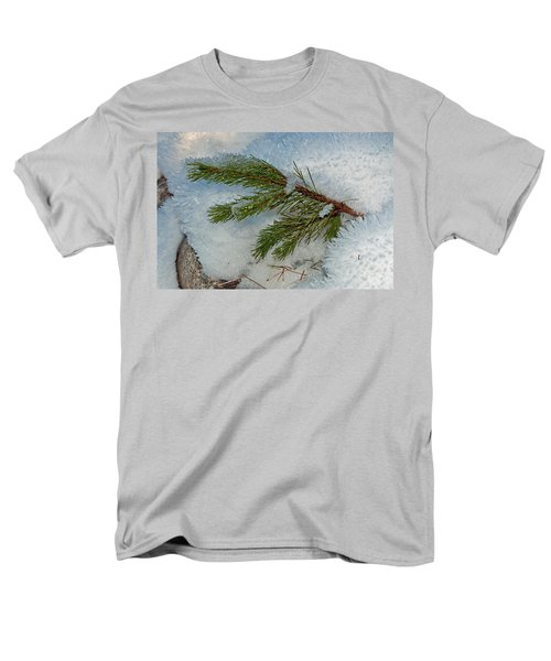 Men's T-Shirt  (Regular Fit) featuring the photograph Ice Crystals And Pine Needles by Tikvah's Hope