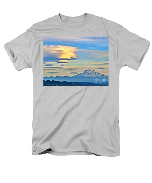 Men's T-Shirt  (Regular Fit) featuring the photograph Lenticular Cloud And Mount Rainier by Sean Griffin